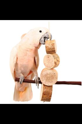De Bird Kabob Mucho Grande bestaat uit onweerstaanbare versnipperbare blokken van Agave (cactushout) welke geknoopt zitten aan sisaltouw.