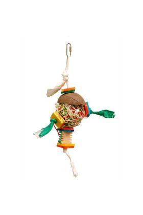 De Zoo-Max Chita heeft als basis een bal van riet welke gevuld is met papiersnippers.