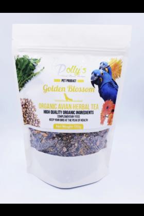 Deze biologische Golden Blossom kruidenthee voor vogels bestaat uit zaden, bladeren en bloemen die voedingsstoffen bevatten zoals vitamine A, vitamine K, evenals essentiële mineralen die jouw vogel ondersteund bij zijn gezondheid.