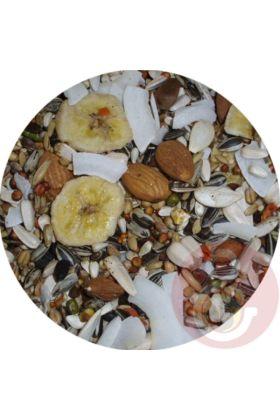 De Premium Kaketoe zaadmengeling is speciaal samengesteld voor kaketoes. Door toevoeging van gedroogd fruit, kokos en amandelen is deze zaadmengeling voor kaketoes de perfecte aanvulling op hun dieet.