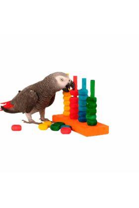 De Zoo-Max The Teacher is speeltje met gekleurde houten ringen waarmee je jouw voel spelenderwijs kan trainen.