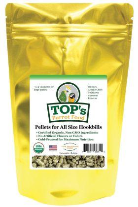 TOP's Parrot Pellets Large ™ zijn USDA biologisch gecertificeerd en perfect voor papegaaien van alle groottes, van ara's tot grasparkieten. Deze kenmerkende, gepatenteerde pellets, met een diameter van ongeveer een halve centimeter, zijn gemaakt met alle