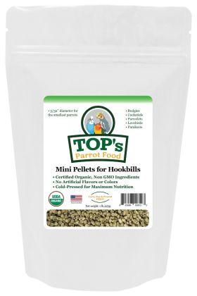 TOP's Parrot Pellets Mini™ zijn USDA biologisch gecertificeerd en perfect voor kleinere soorten zoals grasparkieten, valkparkieten en agaporniden.