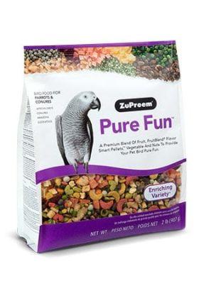 ZuPreem Pure Fun™ voor middelgrote vogels is een hoogwaardige mix van fruit, FruitBlend® Flavour Smart Pellets™, groenten en noten om jouw vogel te prikkelen en te verrijken.Deze blend bevat een heerlijke mix van stukken van de juiste grootte voor jou